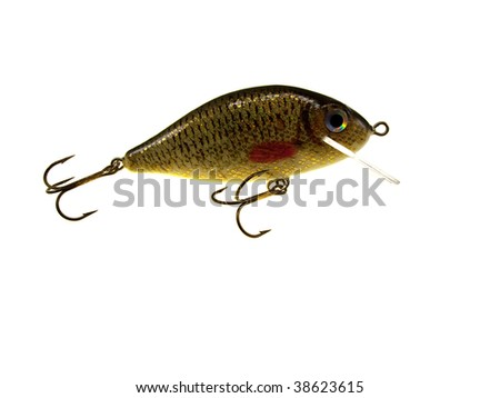 Old fishing wobbler a crucian isolated on a white background - stock photo