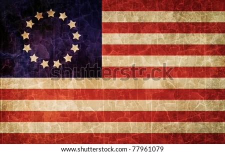 Old 1777 flag of USA, USA flag for USA Independence Day, USA Betsy Ross flag - stock photo