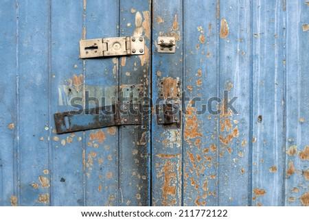 Old flaked classic  door - stock photo
