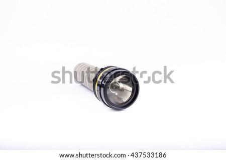 old flashlight isolate on  white background - stock photo