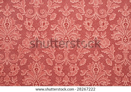 Old Floral vintage wallpaper background. Red color. - stock photo