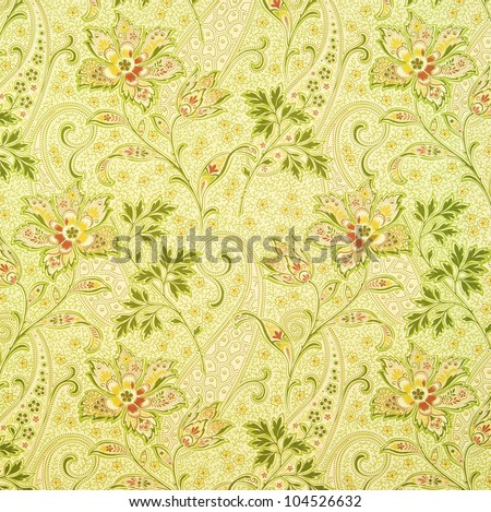 Old Floral Wallpaper - stock photo
