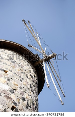 Old Flour mill Closeup, (Old Agios Yannis Church & Current Town Library) in Cunda Island, Turkey - stock photo