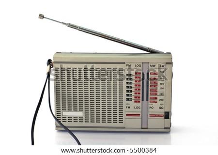 Old FM radio on white background - stock photo