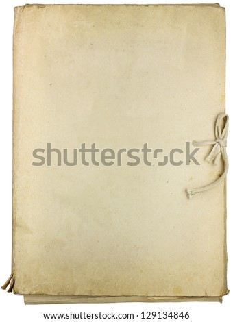 Old folder for papers isolated on white background - stock photo