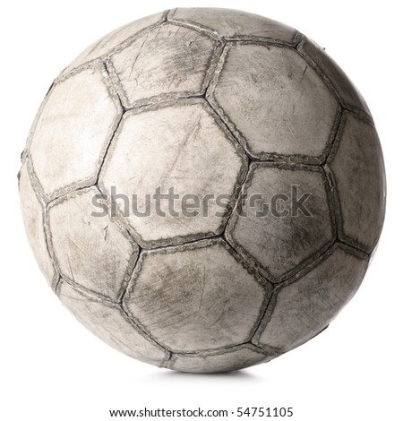 old football ball isolated on white - stock photo