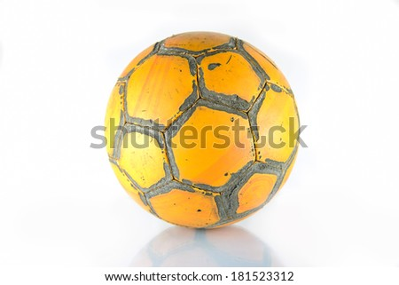 Old football isolated on a white background - stock photo