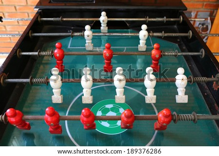old football table, soccer table - stock photo