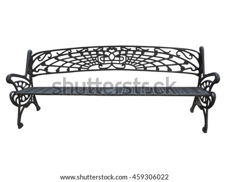Old forged iron bench isolated on white background. - stock photo