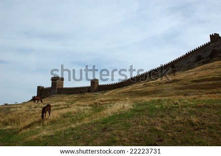 old fort and horses. landscape