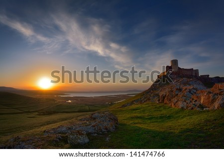 old fortress at sunset