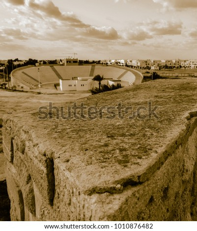 Old fortress Ghazi Mustapha on Mediterranean sea coast in Houmt Souk town in Tunisia. Old style photo
