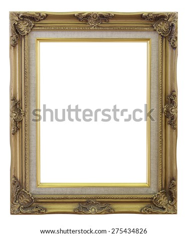 Old Frame gold and copper vintage isolated background. - stock photo