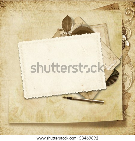 Old frame on victorian background - stock photo