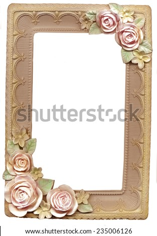 old frame with an ornament with flowers - stock photo
