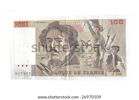 Old 100 Franc bills from France isolated on white. - stock photo