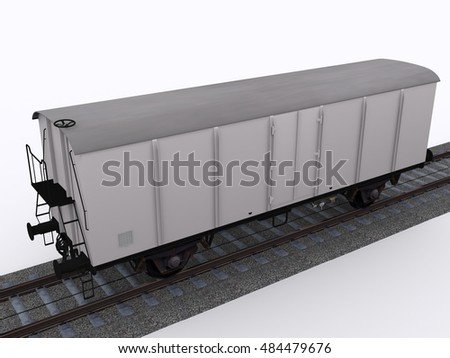 Old freight train 3d rendering