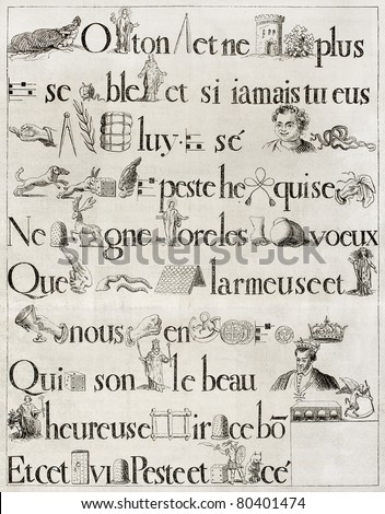 Old French rebus, from antique print of 1613. Hennin collection. Published on Magasin Pittoresque, Paris, 1850 - stock photo