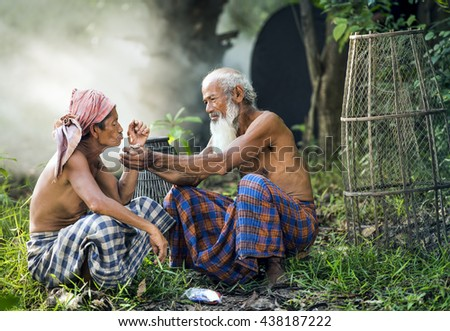 Old friend in local style in Thailand - stock photo