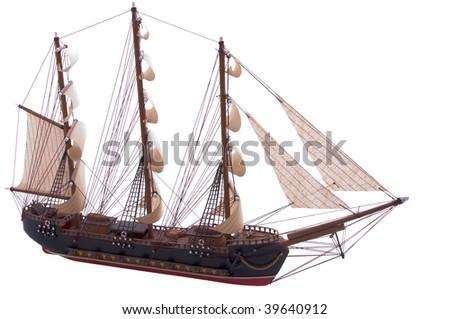 old frigate ship model isolated on white - stock photo
