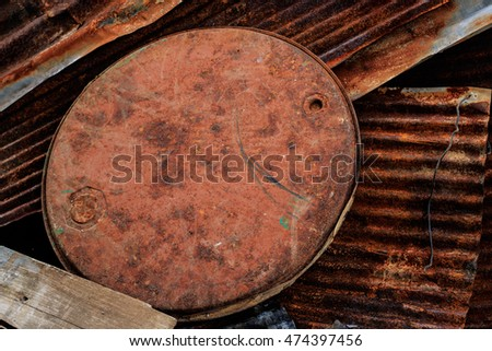 old fuel tank and zinc texture