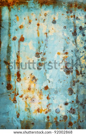old galvanized light blue as the background - stock photo