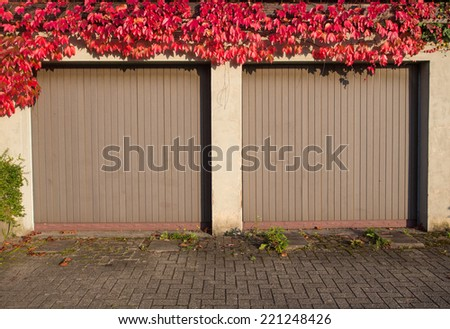 old garage with red ivy  - stock photo