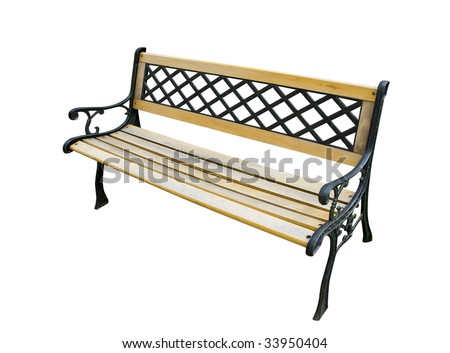 Old garden bench isolated on white background