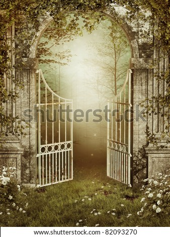 Attractive Old Garden Gate With Ivy And Roses