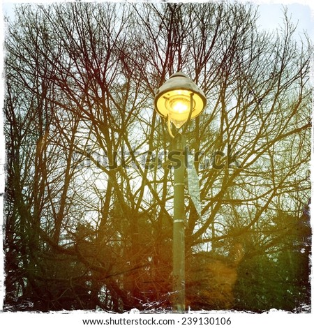 Old Gas Lamp in Winter  - stock photo