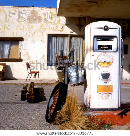 Old gas station in ghost town at route 66 - stock photo