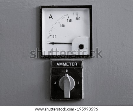 Old gauges , Control panel with few analog ammeter - stock photo