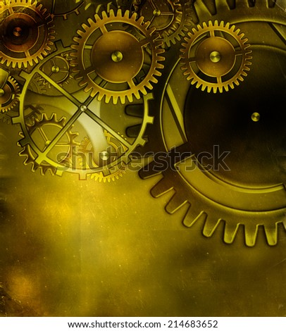 old gear mechanism on the background of old vintage parchment - stock photo