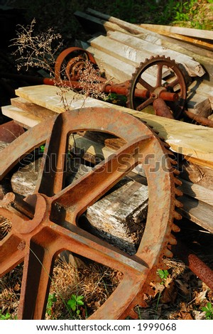 Old Gears and Junks - stock photo