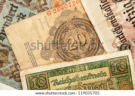 Old german money notes background
