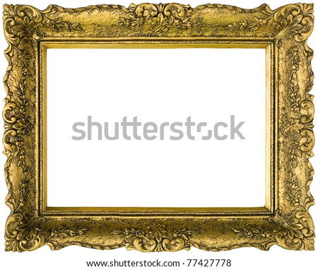 Old gilded golden wooden frame isolated with clipping path inside and outside - stock photo