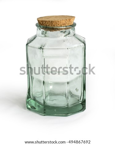 old glass bottle isolated on white with clipping path