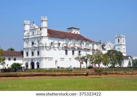 OLD GOA, INDIA - FEBRUARY 4 2016: Church of St. Francis of Assisi is a Roman Catholic church and current structure was built in 1661 by the Portuguese.