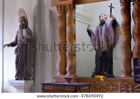 Old Goa, India - November 13,  2012: Interior of Basilica of Bom Jesus (Borea Jezuchi Bajilika) - Roman Catholic church in Old Goa. The Basilica Church holds the mortal remains of St. Francis Xavier.