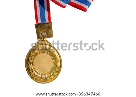 old gold medal in isolated background, blank face for text : concept to the winner.