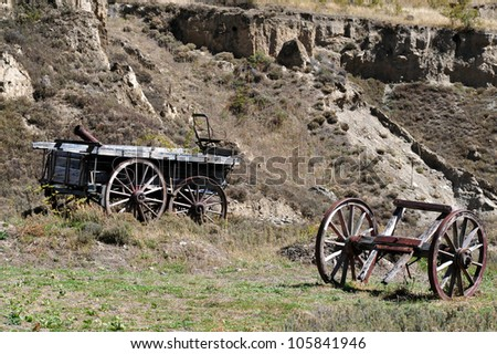 Old gold mining wagons, south Island, New Zealand.