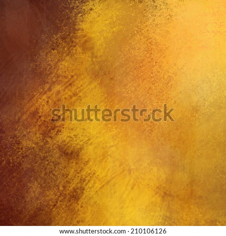 old gold vintage background paper with brown distressed grunge texture and soft yellow lighting - stock photo