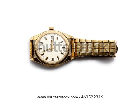 Old gold wrist watch