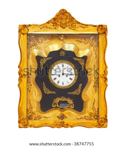 Old golden clock isolated included clipping path