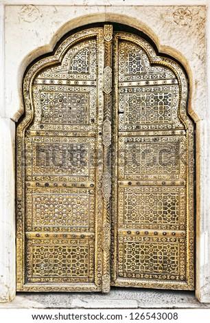 Old Golden Doors of the Hawa Mahal. Hawa Mahal the Palace of Winds in & Old Golden Doors Hawa Mahal Hawa Stock Photo (100% Legal Protection ...
