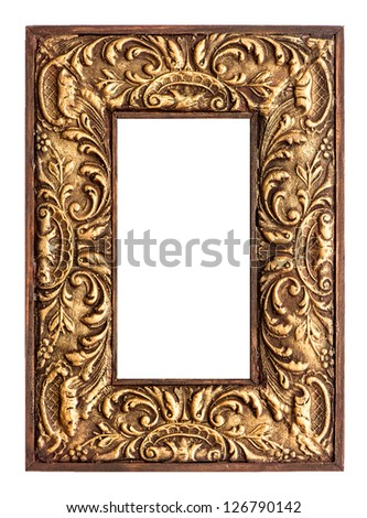 old golden frame. beautiful vintage background - stock photo