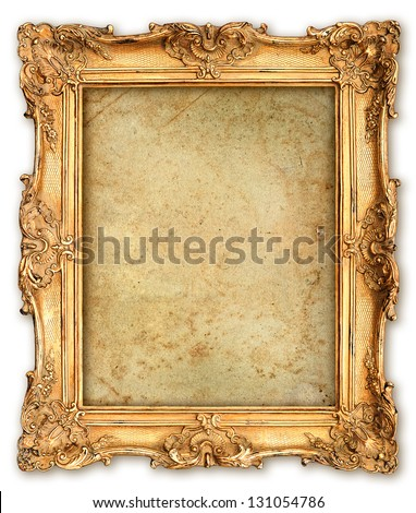 old golden frame with empty grunge canvas for your picture, photo, image. beautiful vintage background - stock photo