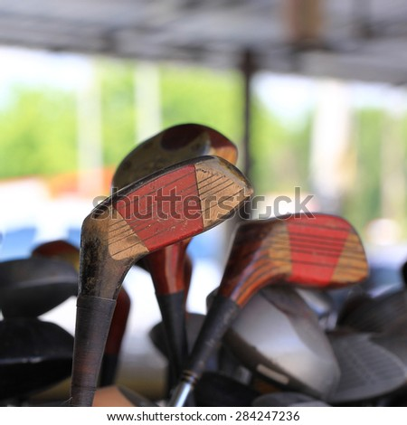 Old golf club wooden - stock photo
