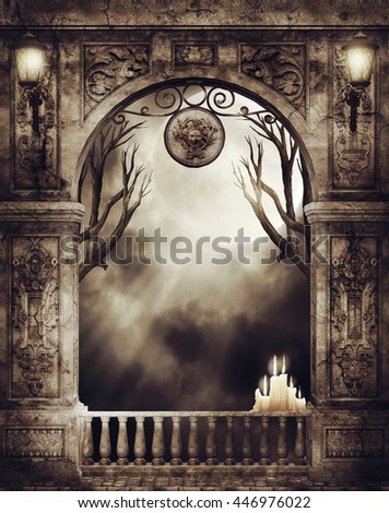 Old gothic arch with burning candles and fantasy lamps. 3D illustration.