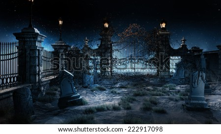 Old Gothic Cemetery With Iron Gate And Lantern
